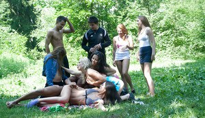 Stunning coeds with sexy bodies enjoy a hardcore groupsex outdoor