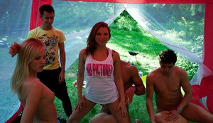 Lascivious teenage gals with hot bodies enjoy a sex party outdoor