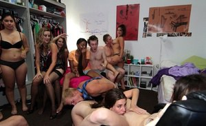 Filthy coeds lick each other's cunts and have some fun with a hard cock
