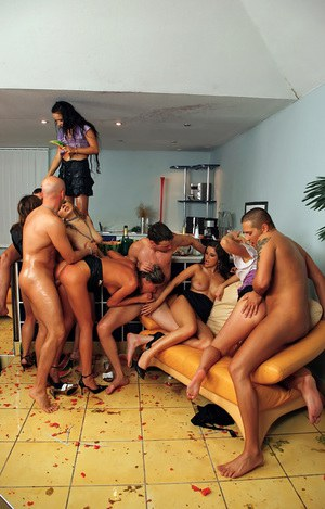 Sultry gals enjoy a hardcore foodplay orgy at the house party