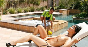 Playful asian vixen with big tits Asa Akira gets screwed by the pool