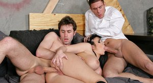 Hot ass lady Emma Heart gets her love holes filled with two hard pricks