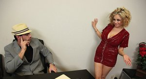 Voluptuous blonde on high heels Katie Kox sucks and grinds a hard fat dick