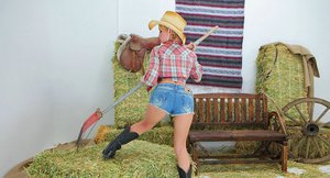 Bosomy cowgirl with pigtails gets her cherry hole stretched by a big cock