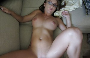 Slutty cutie in glasses gives head and gets her shaved cunt drilled