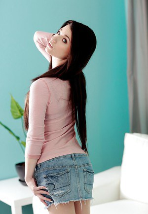 Lovely teen Lacie Channing stripping and exposing her pink honey pot