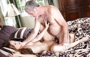 Svelte pornstar Alyssa Branch has a passionate sex with an older guy