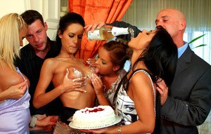 Lecherous hotties show off their blowjob skills at the housex party