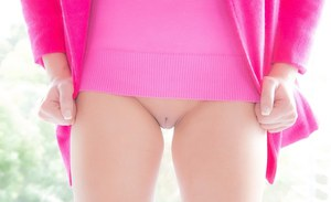 Blonde teenage cutie with bald slit Lilly Banks slipping off her clothes