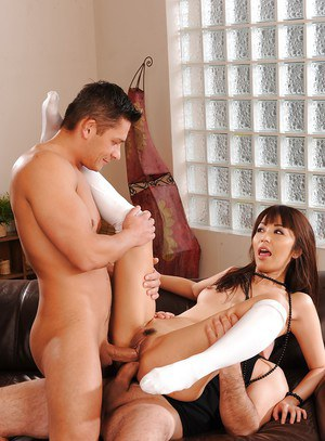 Asian hottie Marica Hase has a threesome and enjoy double penetration