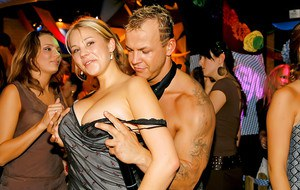 Lecherous cock-hunters going wild at the drunk night club party