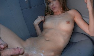 Sweet amateur with tiny tits and shaved slit gets screwed in the car