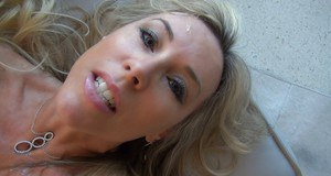 Horny blonde gets caught on a homemade video sucking and fucking a hard dick
