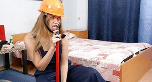 Barely clothed amateur performs some solo role play for a homemade video