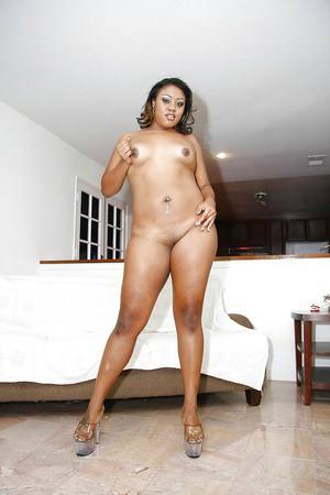 Chubby ebony chick with big butt Vanity Cruz gets rid of her sexy lingerie