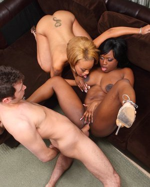 Juggy ebony sluts enjoy a fervent FFM groupsex with a white lad