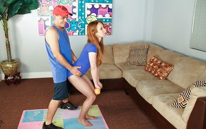 Sporty teenage floosie has some handjob fun with her naughty coach
