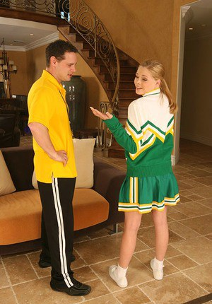 Salacious cheerleader Jessie Dalton gets her shaved pussy cocked up
