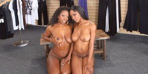 Fuckable ebony gals with big tits make some sensual lesbian action