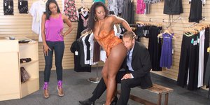 Sex-hungry ebony lassies with big tits sharing a hard white dick