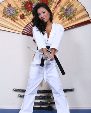 Asa Akira gets rid of her sport uniform and spreading her legs
