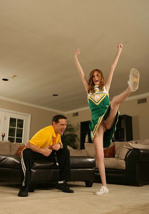 Lewd cheerleader gets her bald cunt cocked up and takes cumshot in her mouth