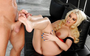 Lewd bombshell has some hardcore foot fetish fun with a studly lad