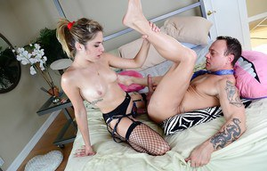 Lia Lor gets fucked and has some strapon fun with a kinky lad