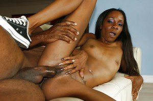 Horny ebony girl Jayna Lynn gets fucked and facialized by a big cock lad