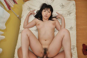 Maho Shibata gives a sensual blowjob and gets her hairy pussy shagged hard