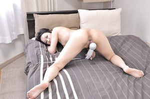 Sexu asian MILF Mika Asano stripping down and playing with a vibrator