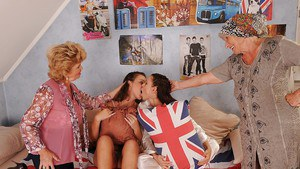 Lecherous grannies have foursome lesbian fun with their teenage friends
