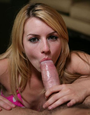 Sensuous blonde chick fucks a huge boner and takes a cumshot on her tongue