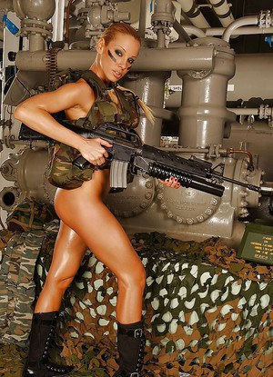 Gorgeous blonde in military outfit revealing her ravishing goods
