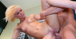Kicky blonde slut has some pussy licking and fucking fun with a studly lad