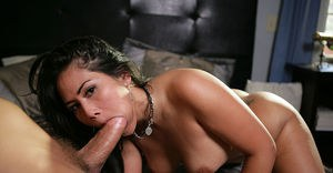 Well-stacked asian lassie with pierced tongue fucks and blows off a big boner