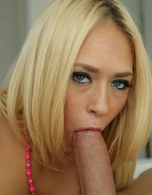 Busty blonde hottie fucks a big cock for cum on her pretty face and rack
