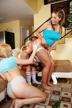 Bored girls have some spin the bottle fun turning into lesbian orgy