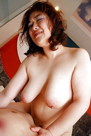 Chubby asian slut with saggy tits has some pussy vibing and fucking fun