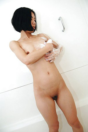 Asian MILF with hot ass Makoto Abe taking shower and teasing her hairy gash