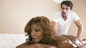 Oiled up ebony vixen Jasmine Webb blows and fucks a masseur's big cock