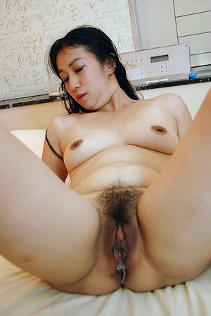 Asian lassie Fumie Inada gets her hairy pussy boned-up and creampied