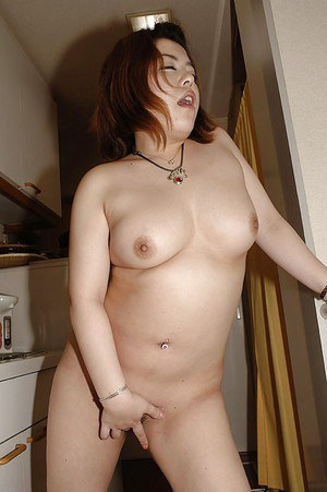 Chubby asian MILF Kana Miyagi undressing and playing with a vibrator