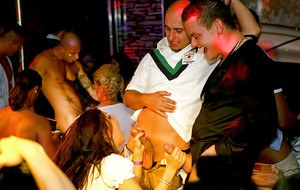 Dirty-minded MILFs going wild at the drunk party with naughty guys