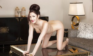 Admirable brunette Cassie Laine demonstrating her graceful curves