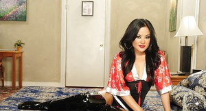 Asian MILF Kaylani Lei undressing and spreading her legs in thigh boots