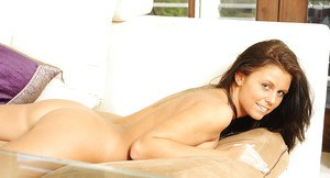 Topless doxy Whitney Westgate taking off her panties and spreading her legs