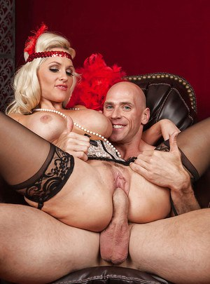 Glamorous MILF in stockings Alena Croft gets fucked and facialized