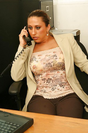 Naughty office lady with huge jugs masturbating her slit at her workplace