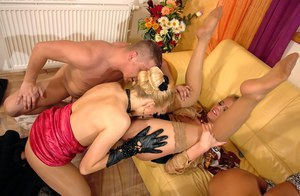 Filthy ladies enjoy partly clothed reverse gangbang ending with pissing
